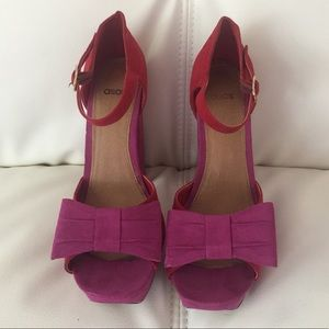 ASOS red & pink suede open toe heels. EU39=UK6=US8